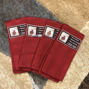 4 Chateau Red Stripe Micro-Fiber Dinner Napkins